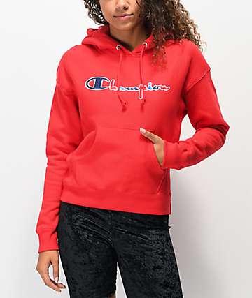 Champion Three Color sudadera con capucha de tejido inverso rojo