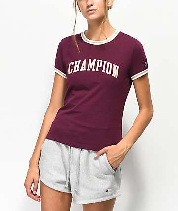 Champion Tiny Burgundy Crop T-Shirt