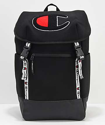 Champion Top Load Logo Black Backpack