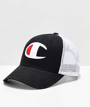 Champion Twill & Mesh Black & White Snapback Hat