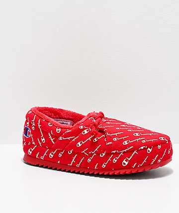Champion University Script Red Slippers