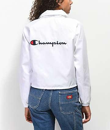 Champion White Crop Coaches Jacket