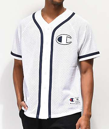 Champion White Mesh Baseball Jersey