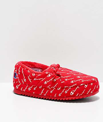 Champion Women's University Script Red Slippers