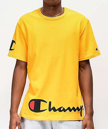 Champion Wrap Around Script camiseta dorada