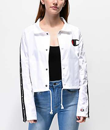 Champion Zip Tape White Crop Coaches Jacket