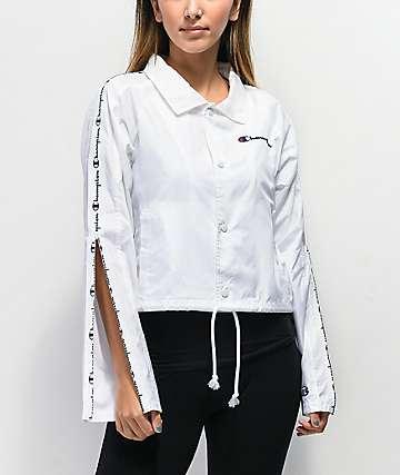 Champion Zipper Tape chaqueta entrenador corta blanca