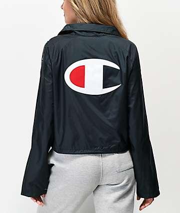 Champion Zipper Tape chaqueta entrenador corta negra