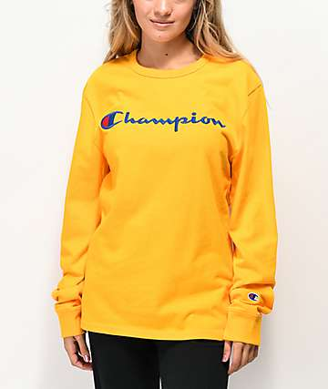 Champion camiseta de manga larga bordada dorada y azul