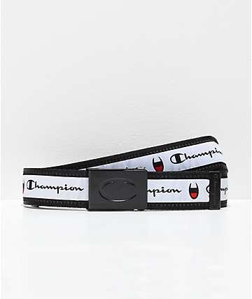 Champion cinturón tejido rojo, blanco y negro