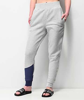 Champion joggers grises y azules de tejido inverso