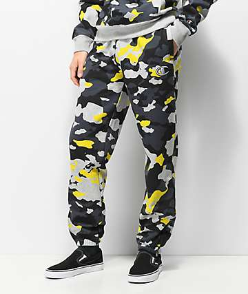 Champion pantalones deportivos de camuflaje amarillo y gris