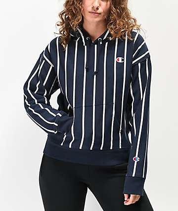 Champion sudadera con capucha azul marino de rayas de tejido inverso