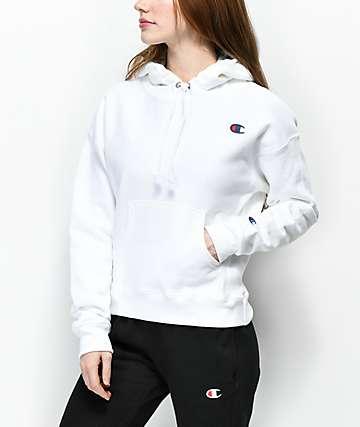 Champion sudadera con capucha blanca de tejido inverso