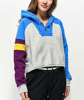 Champion sudadera con capucha con cremallera de tejido inverso azul, gris y morado