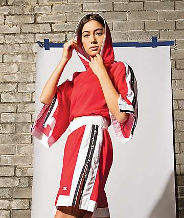Champion sudadera con capucha de malla roja y blanca