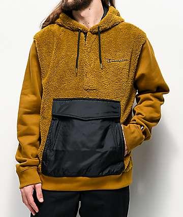 Champion sudadera con capucha de pelo sintético dorado