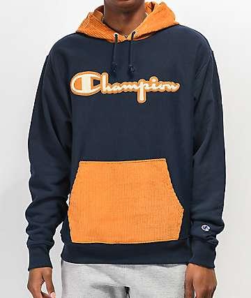 Champion sudadera con capucha de tejido inverso azul marino y pana dorada