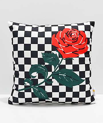 Checkered Rose Black & White Pillow