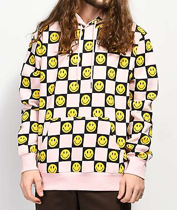 Chinatown Market x Smiley Face Checkered Pink Hoodie