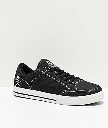 Circa Lopez 50 Skull Black Denim Skate Shoes