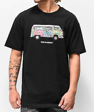 Circulate Hippie Bus camiseta negra