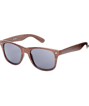 Classic Faux Wood & Smoke Lens Sunglasses
