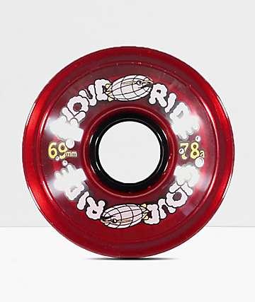 Cloud Ride Clear Red 69mm 78a Longboard Wheels