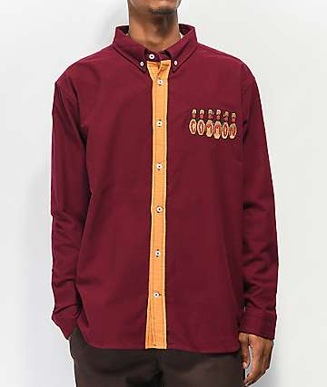 Common Kingpin Maroon Long Sleeve Button Up Shirt