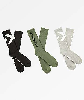 Converse Big Logo Grey, Olive & Black 3 Pack Crew Socks