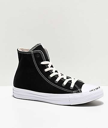 Converse CTAS HI Renew Black & White Skate Shoes