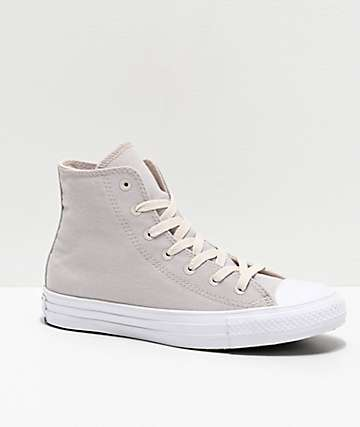 Converse CTAS HI Renew Pale Putty & Black Skate Shoes