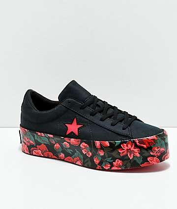 Converse One Star Black & Floral Platform Shoes