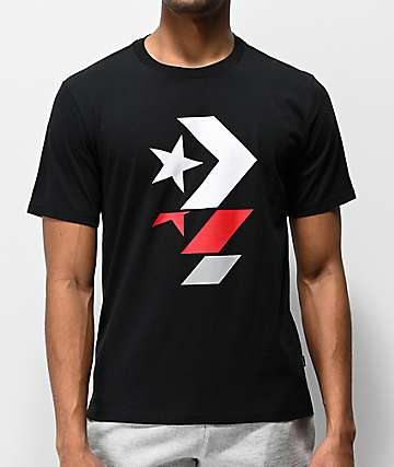 Converse Repeated Chevron Star Black, Red & White T-Shirt