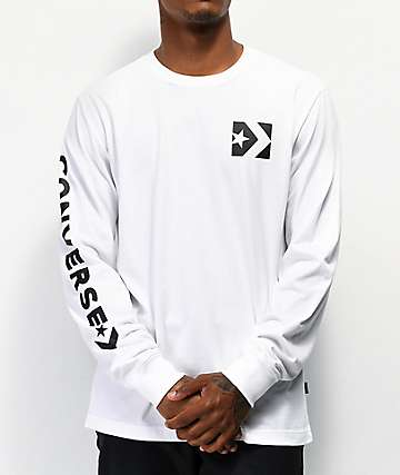 Converse Repeated Star Chevron White Long Sleeve T-Shirt