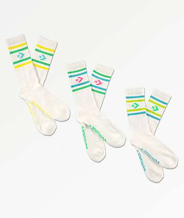 Converse Vintage 3 Star 3 Pack White Crew Socks