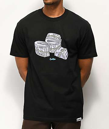 Cookies Blue Strips Black T-Shirt