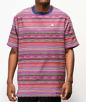 Cookies Peruvian Stripe Red Woven Short Sleeve Shirt