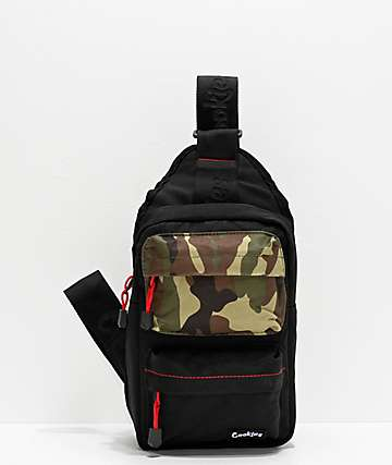 Cookies Rack Pack Smell Proof Black & Camo Crossbody Backpack