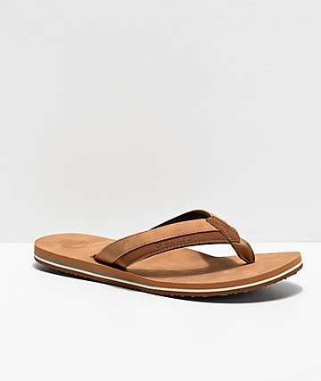 Cords Brewer Tan & Black Faux Leather Sandals