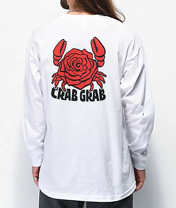 Crab Grab Crab Rose White Long Sleeve T-Shirt