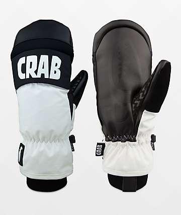 Crab Grab Punch Mitt White & Black Snowboard Mittens