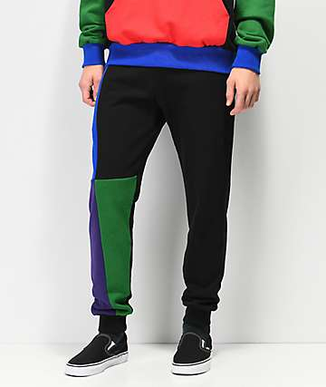 Cross Colours Blue, Green & Purple Colorblock Jogger Sweatpants
