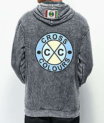 Cross Colours Circle Logo Grey Mineral Wash Hoodie