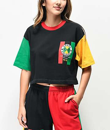 Cross Colours Flag Logo Black, Green & Yellow Color Block Crop T-Shirt