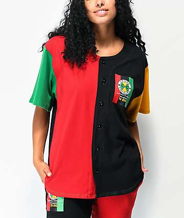 Cross Colours Flag Logo Colorblock Baseball Jersey