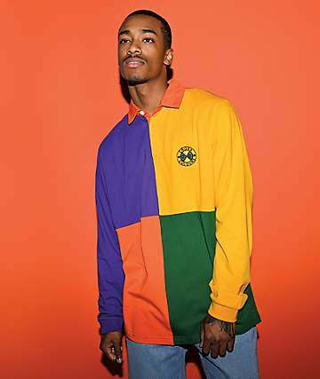 Cross Colours Rugby Colorblock Multicolored Long Sleeve Shirt