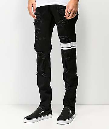 Crysp Antila Stripe Black Denim Skinny Jeans