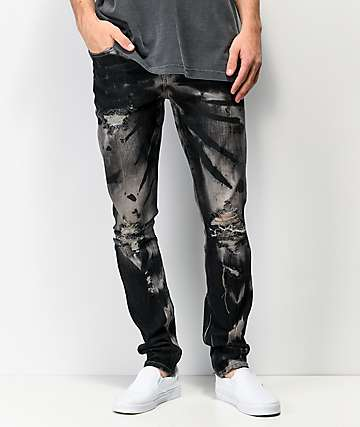 Crysp Denim Pacific Destroyed Black Skinny Jeans