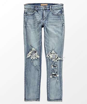 Crysp Denim Solo Destroyed Knee Blue Jeans